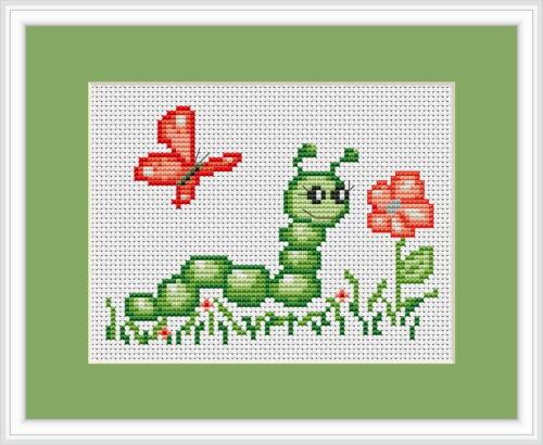 Caterpillar Y Mariposa Cross Stitch Kit por Luca S Ideal Principiante 13cm X 9cm
