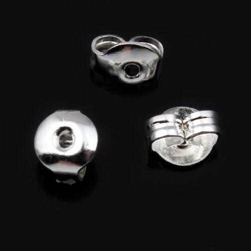 Bouchons Pour Boucles D/'oreille Argent Couleur 100 Pièces Bijoux-p00671x4