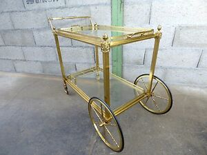 table desserte roulante dor e laiton maison jansen trolley cart bar vintage ebay. Black Bedroom Furniture Sets. Home Design Ideas