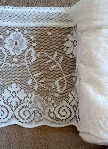 Vintage Princess Marie cotton lace window valance shabby chic White brise-bise