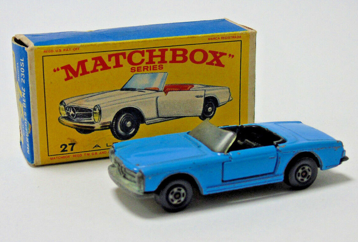 No.27 Matchbox Superfast Lesney bluee Mercedes-Benz 230SL 1 64 Scale Boxed Rare