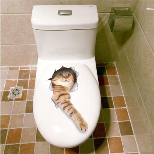 3D Cat Wall Sticker Bathroom Decal Home Bedroom Decor Toilet Mural Vinyl AN