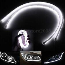 2x85CM White Car DRL DayTime Running LED Strip Light Flexible Soft Tube Lamp 12V