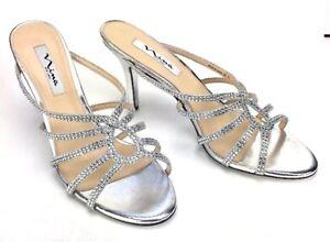 f4066342c39 Nina Womens Silver Heels Sz 10 Fancy Glitter Rhinestone Heels 3.5 ...
