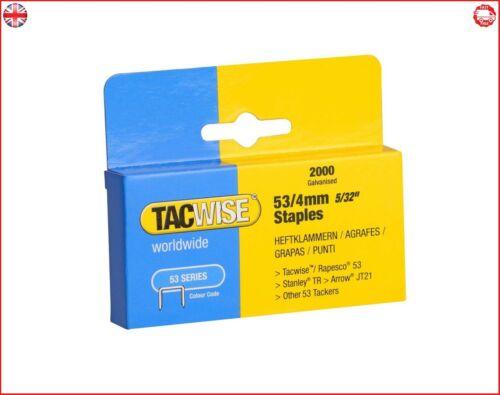 Tacwise Lourd Série Duty 53 Staples 4 mm 2000 agrafes Ideal pour professionnel