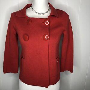 11748da39f Details about J. Crew women s cardigan XS button down sweater blood orange pockets  3 4 sleeves