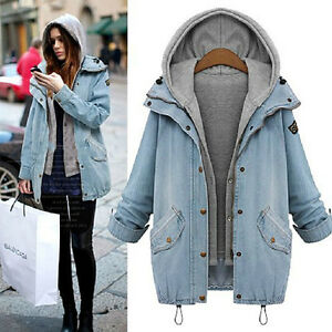 Women 2Pcs Denim Jacket Oversized Hooded Hoodie Gilet Waistcoat ...