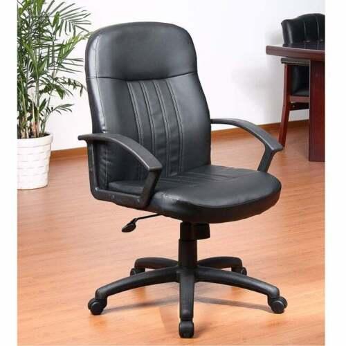 Aragon Black Bonded Leather Adjustable-height Executive Black