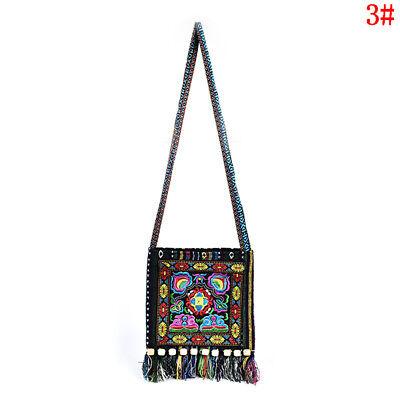 Vintage Canvas Ethnic Shoulder Bag Embroidery Hippie Tassel Tote Messenger Bags#