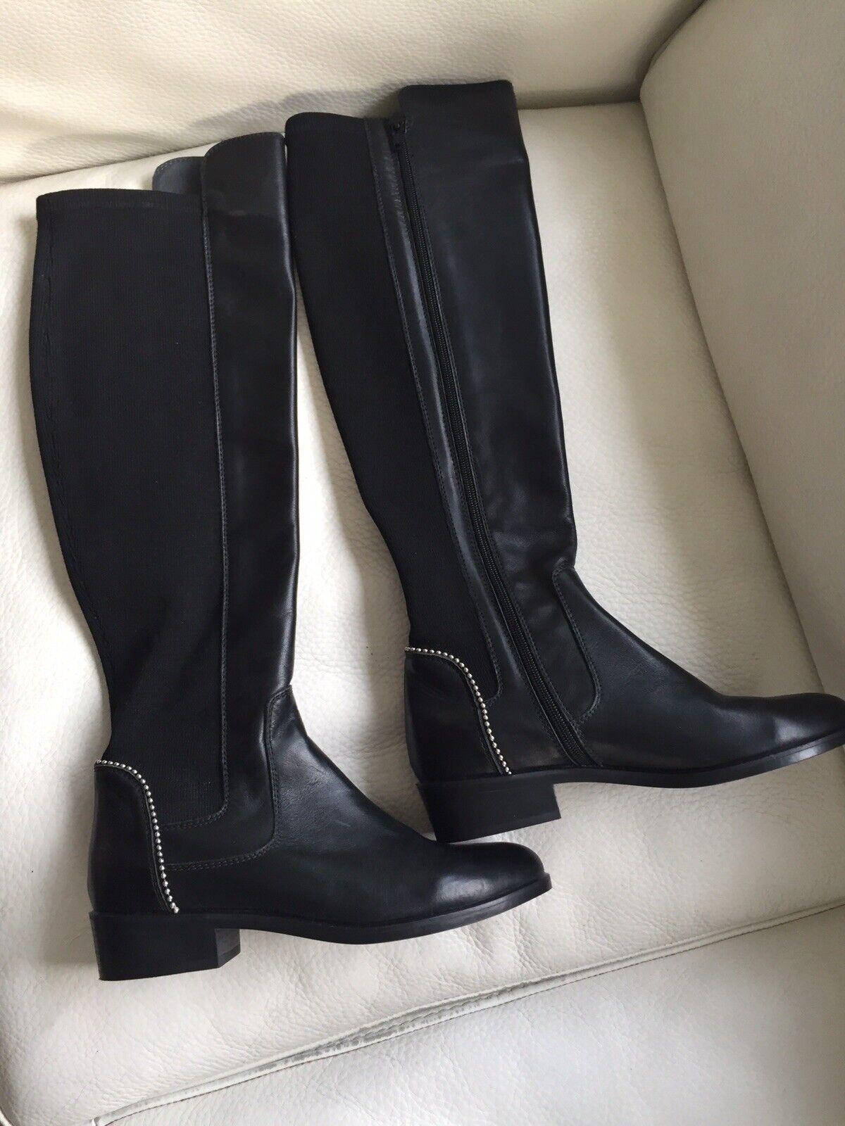 Kanna tolle Damen Stiefel (Overknee) , Gr 37 schwarz, Leder  Textil. Neu