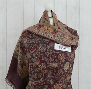 Warm Soft 100/% Pure Pashmina Embroidered Wool Shawl Indian Shawls Kani Paisley