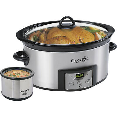 Crock-Pot® - Countdown 6-Quart Slow Cooker and Little Dipper Warmer - Stainle...