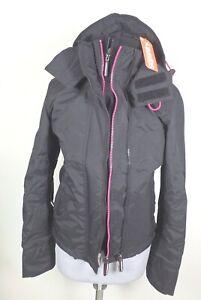 size 40 f34ec 33abc Details zu Superdry #28530 Arctic Hood Pop Zip Windcheater Jacke Blouson  Damen XS Schwarz