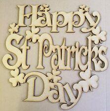 10 x Happy St Patricks day plaque wooden mdf laser cut