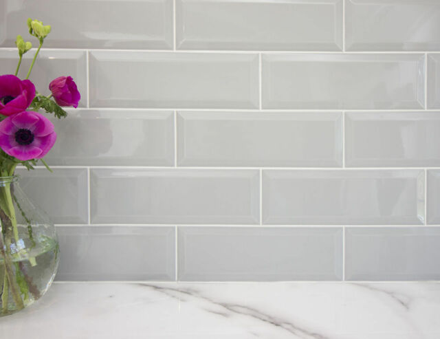 Extra Large Gloss Pale Grey Metro Victorian Bevelled Brick Wall