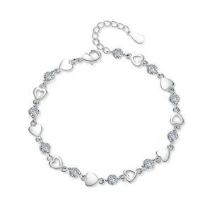 Crystal-Heart-Charm-Link-Bracelet-925-Sterling-Silver-Womens-Girl-Jewellery-Gift