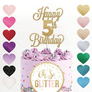 Happy 5th Birthday Cake Topper Five 5 Glitter