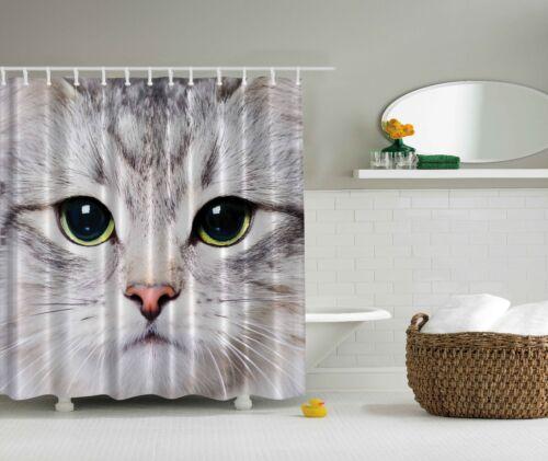 Photo Cat Face Kitten Gray White Fabric Shower Curtain Digital Art Bathroom