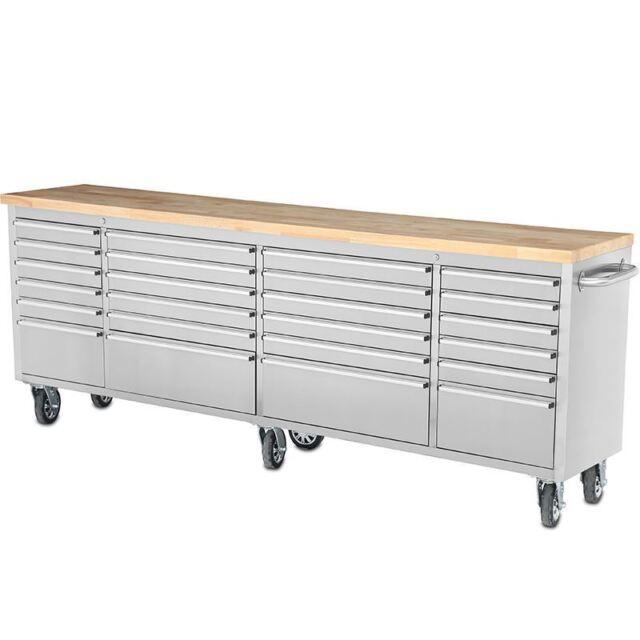 96\'\' Thor 24 Drawers Anti-fingerprint Stainless Steel Tool Box Work Bench