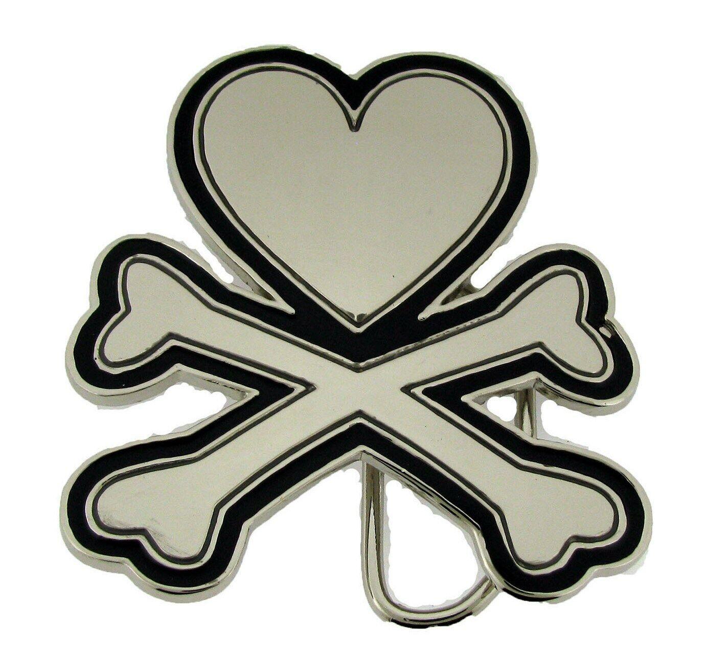 Heart Crossed Bones Belt Buckle Tattoo Gothic Silver Chrome Men Women Fashion