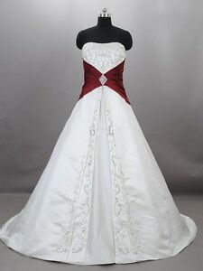 Details about White&Red Ball Gowns Wedding Dresses Bridal Gowns Embroidery  A Line Plus Size