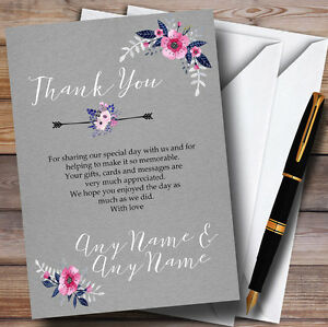 Vintage Pink /& Blue Watercolour Personalized Wedding Thank You Cards