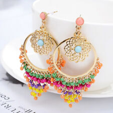 New Fashion Vintage Bohemian Style Flowers Hoop Plated Colorful Crystal Earrings