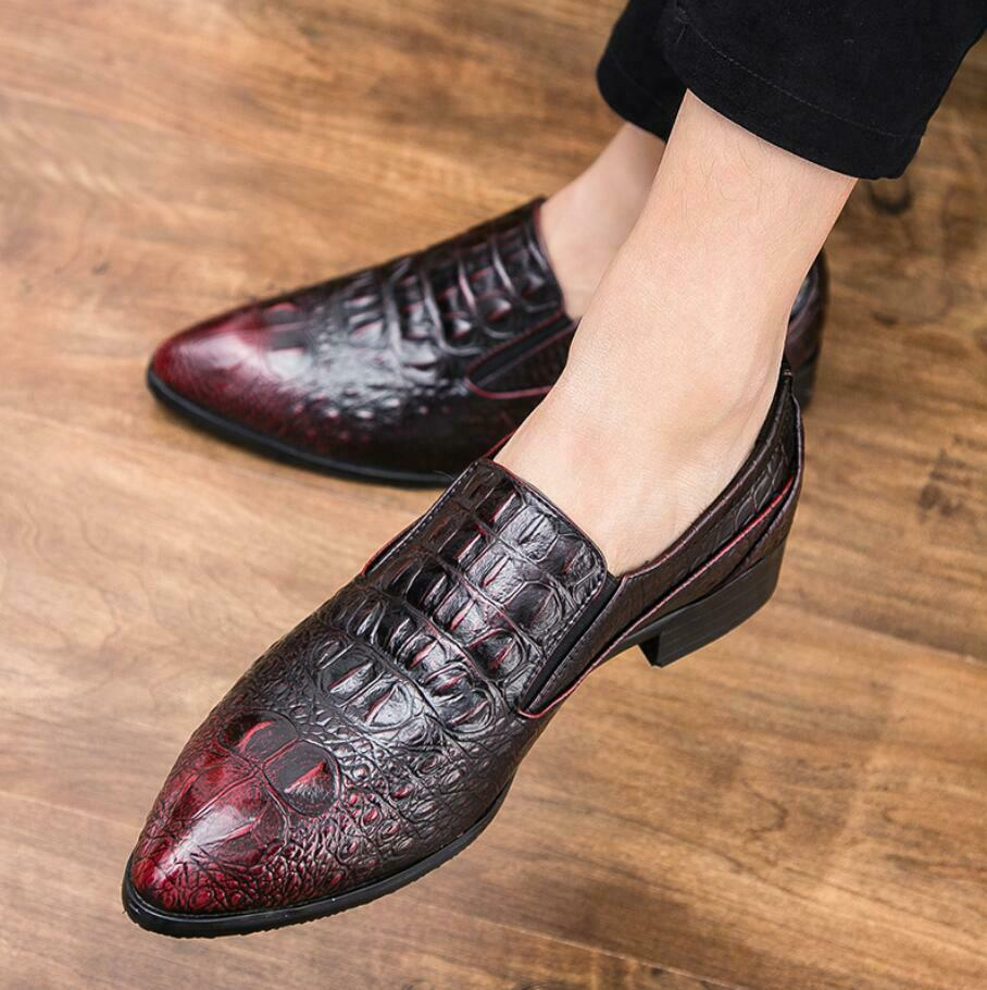 Men Alligator Pattern Leather Slip On Loafers Dress Formal Business Casual shoes