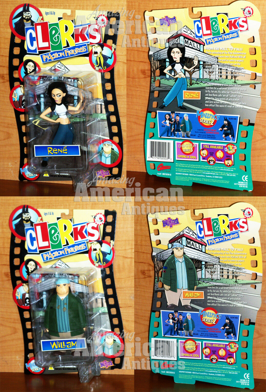Mallrats InAction Figures Rene & William Series 2 Kevin Smith BRAND NEW Action