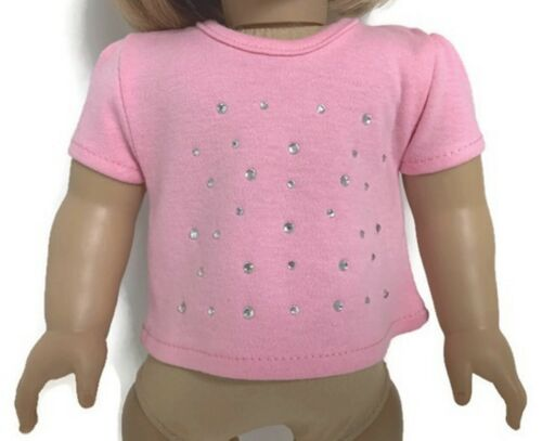 "Pink Capped Sleeved Knit Top w//Rhinestones fits 18/"" American Girl Doll Clothes"