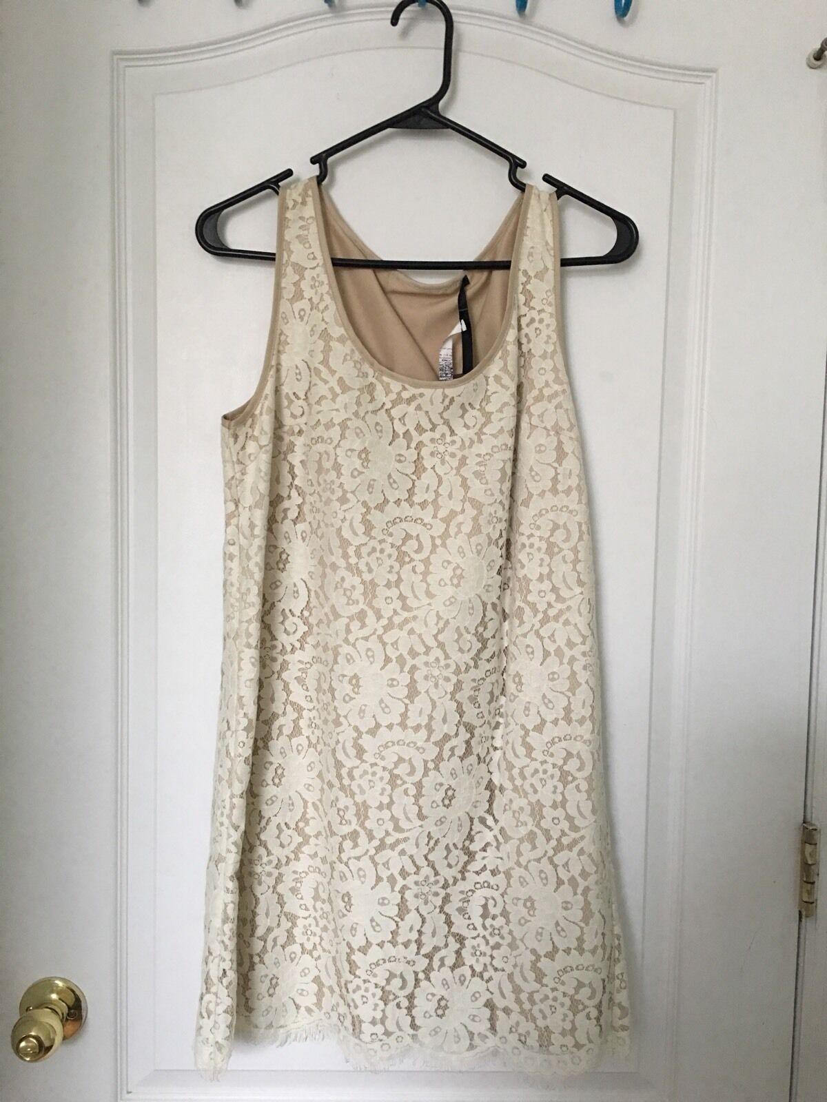 Weiß Cream Farbe Summer Lace Dress New Größe 4