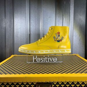 Bally-Mens-Alpistar-Yellow-Leather-Animal-High-Top-Sneakers-Shoes-US-9-NEW