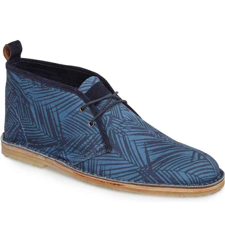 Michael Bastian Stitchout Chukka Mens Fashion Blue Leaf Canvas Shoes Boots
