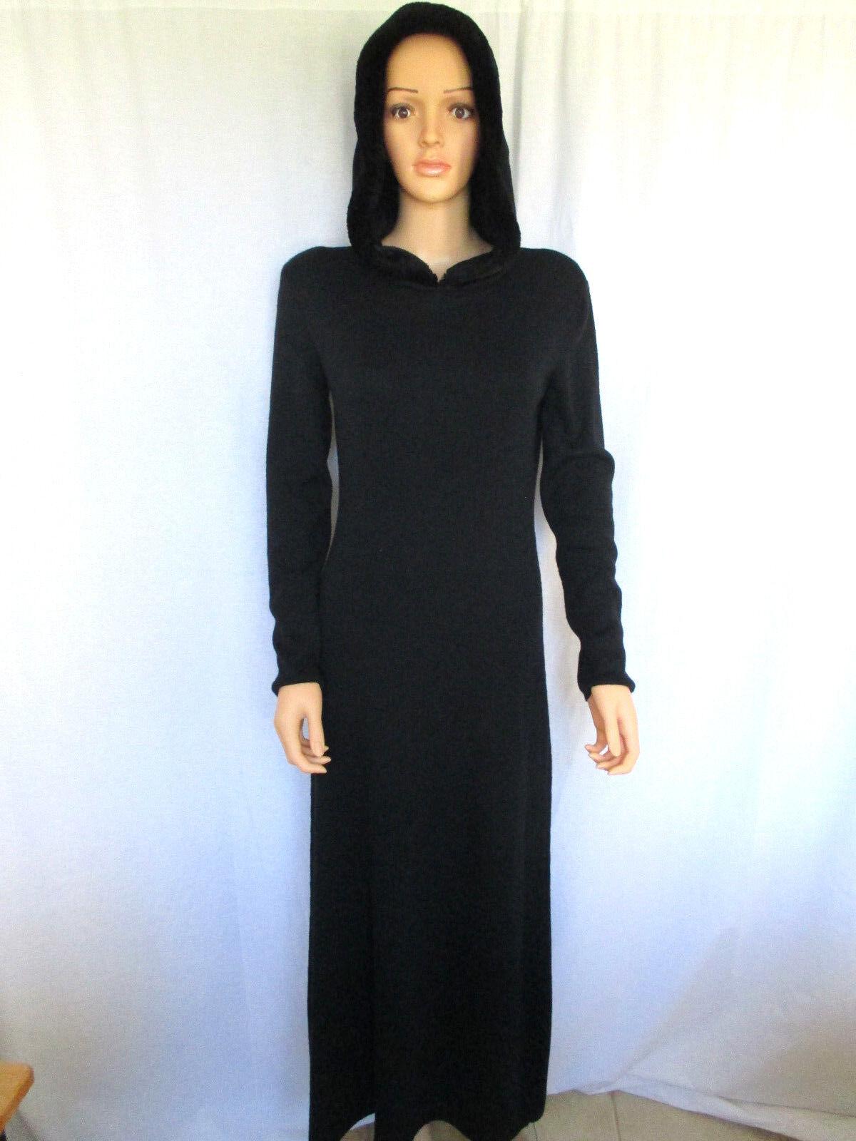 Nina Leonard para mujer Suéter  Vestido Pequeño Negro con Capucha recortado en piel sintética  ahorre 60% de descuento