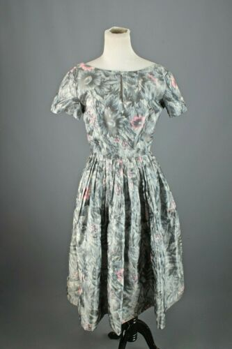 VTG Women's 50s Grey & Pink A Line Cocktail Dress