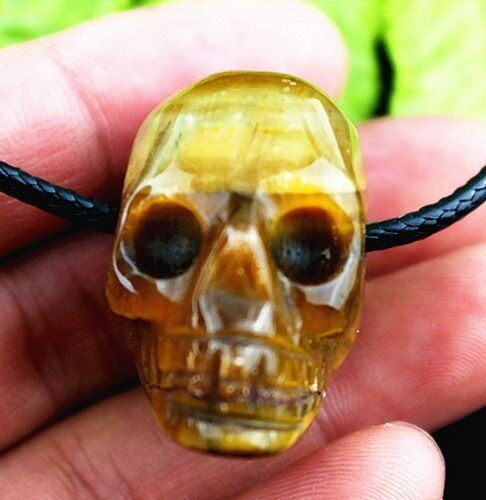 Multiple Choice Mixed Stone Heigth Holes Skull Carved Pendant 27*30*18mm AE5081