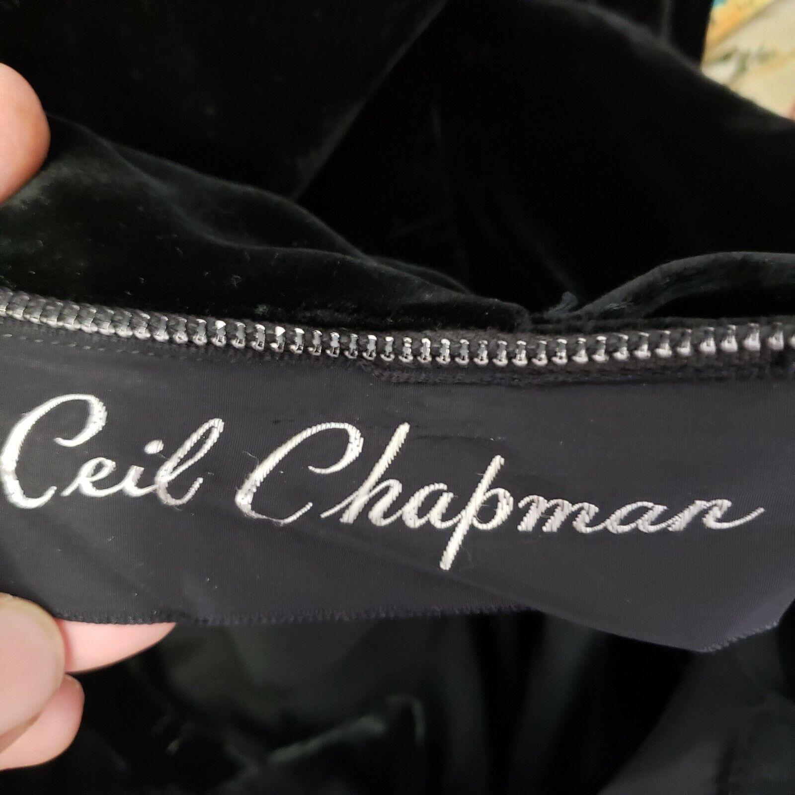 Ceil Chapman Collared Black Velvet Gown  Peplum T… - image 4