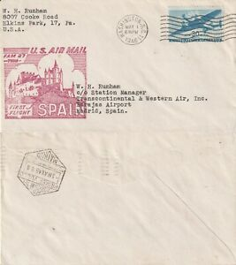 US-1946-AM-27-TWA-FIRST-FLIGHT-FLOWN-COVER-WASHINGTON-DC-TO-MADRID-SPAIN