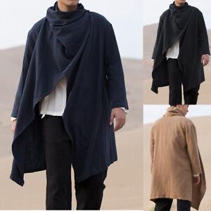 Men-039-s-Cotton-Linen-Waistcoat-Long-Cardigan-Cloak-Hip-Hop-Cape-Coat-Jackets-Tops