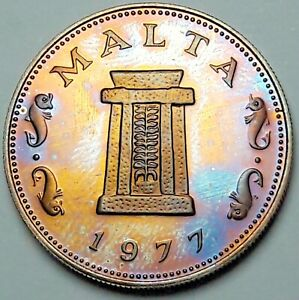 1977 MALTA 5 CENTS PROOF MONSTER BLUE GOLDEN TONED GEM UNC BU COLOR (DR)