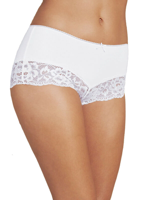 Romantisch Ex M & S White Ornate Lace Cotton Rich Midi Knickers-sizes 12 14 16 18 20 26 28