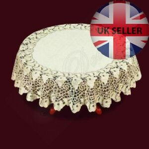 """perfect Xmas gift 47/"""" Tablecloth round white lace NEW Ø 120cm"""