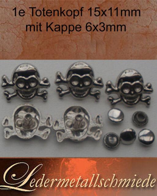 Nr. 1e- 5 oder 10 Totenkopf/Skull mit Kappe ,Schraubnieten, Gothik,Punk,