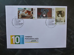 2016-LUXEMBOURG-ANIMALS-CATS-amp-DOGS-SET-OF-3-STAMPS-FDC-FIRST-DAY-COVER