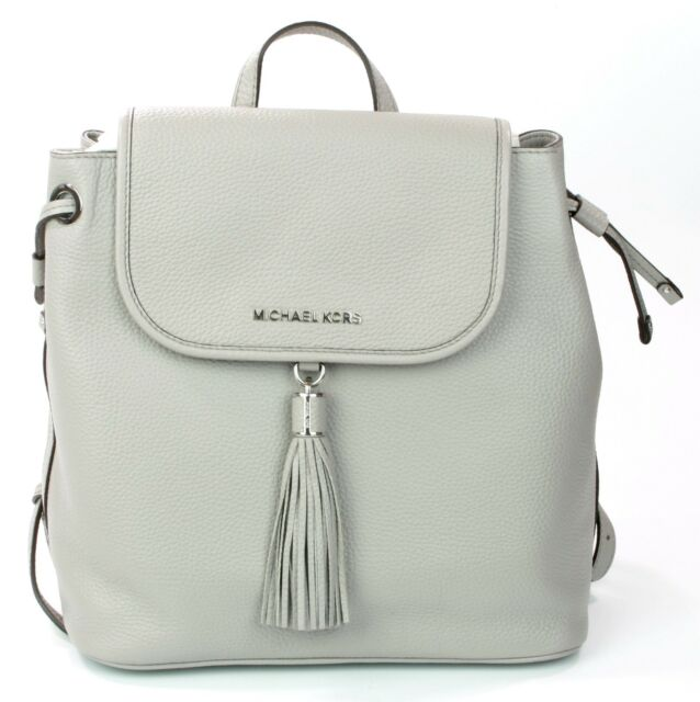 29a80191e5a Michael Kors Bedford Backpack Bag Pebbled Leather Pearl Grey Medium