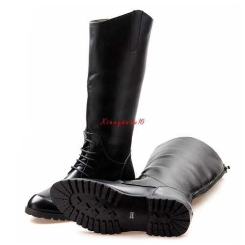 Men/'s équitation Bottes Cuir Militaire Dos Fermeture Éclair Bottes cavalières hautes chaussures