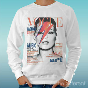 "FELPA UOMO LEGGERA SWEATER BIANCO "" KATE MOSS BOWIE ART "" ROAD TO HAPPINESS"