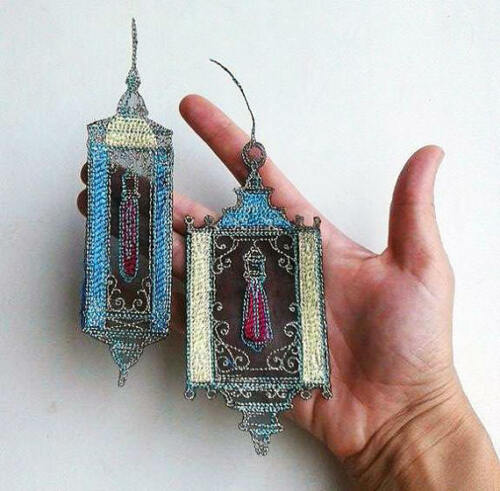 Steampunk Styled Antique Lamp Embroidered Patch