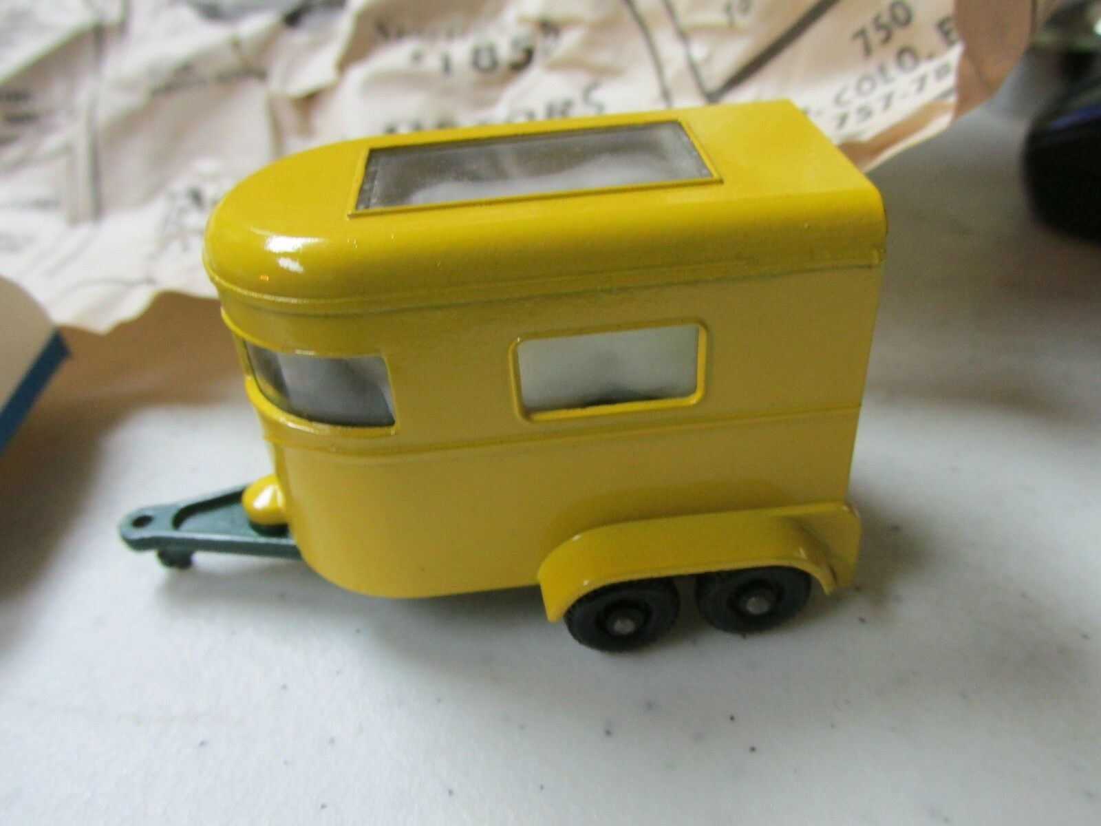 Lesney Matchbox Pony Trailer & & & Box   SUPER NICE    Yellow & Dark Green 03f05c