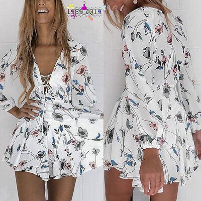 Fashion Women Strap V Neck Beach Long Sleeve V Neck Mini Dress Beach Party Dress